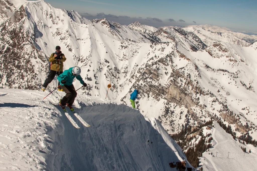 Descending Baldy Chute at Alta, Utah