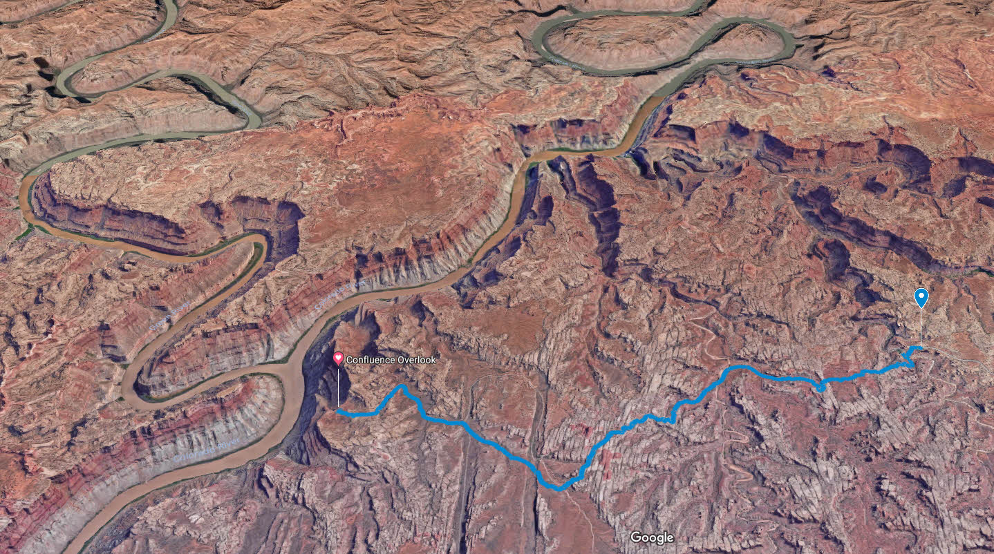 canyonlands confluence hike map